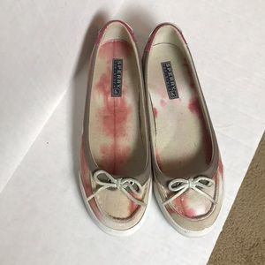Sperry Top Siders Red and White Canvas Boat Shoes